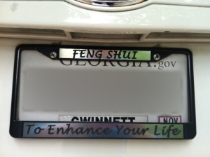 License plate brackets can be good Feng Shui!
